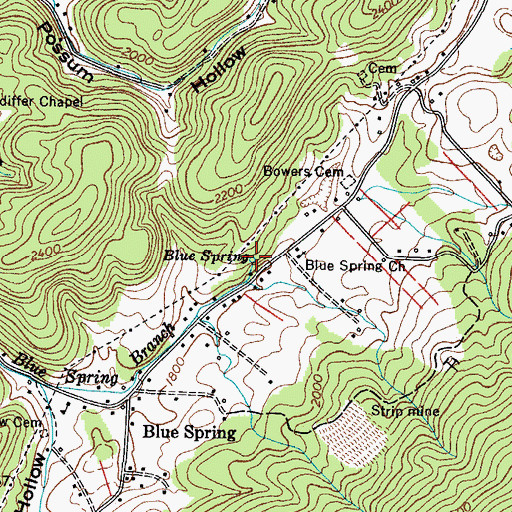 Topographic Map of Blue Spring, TN