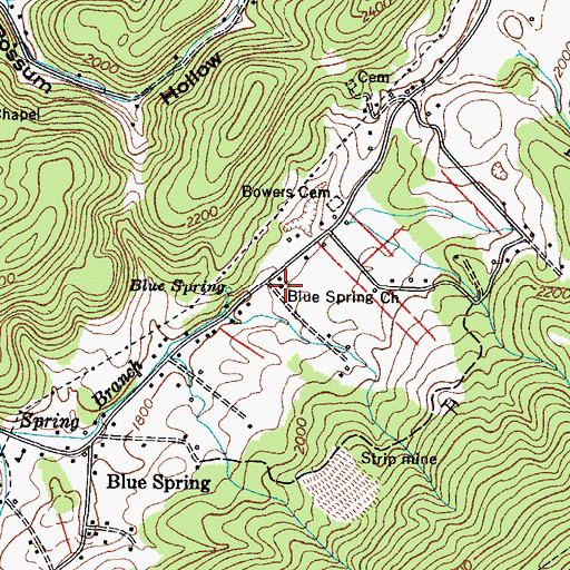 Topographic Map of Blue Spring Church, TN