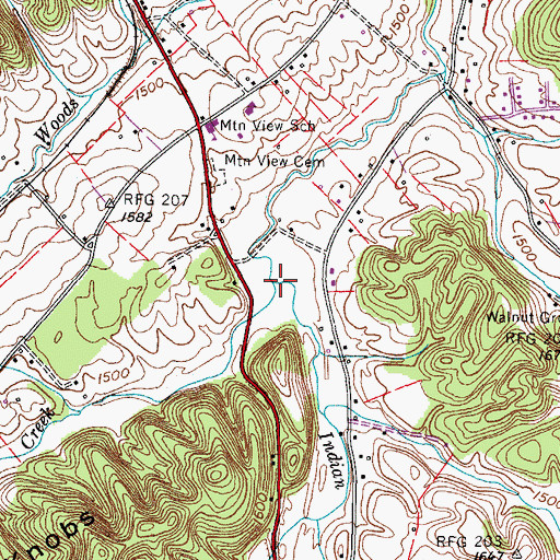 Topographic Map of Booher Creek, TN