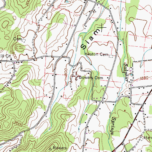 Topographic Map of Bowers Cemetery, TN