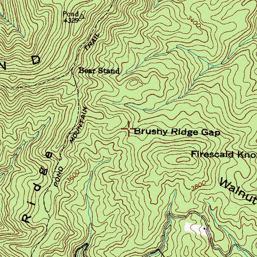 Topographic Map of Brushy Ridge Gap, TN
