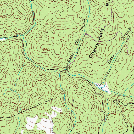 Topographic Map of Camp Ten Branch, TN