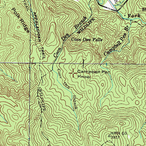 Topographic Map of Campbell Pen Knob, TN