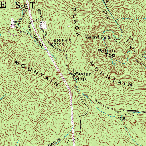 Topographic Map of Cedar Gap, TN