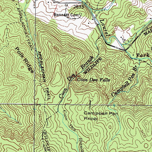 Topographic Map of Coon Den Falls, TN