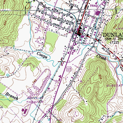 Topographic Map of Cordell Lane Branch, TN