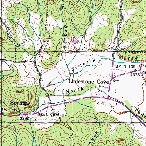 Topographic Map of Cordwood Branch, TN