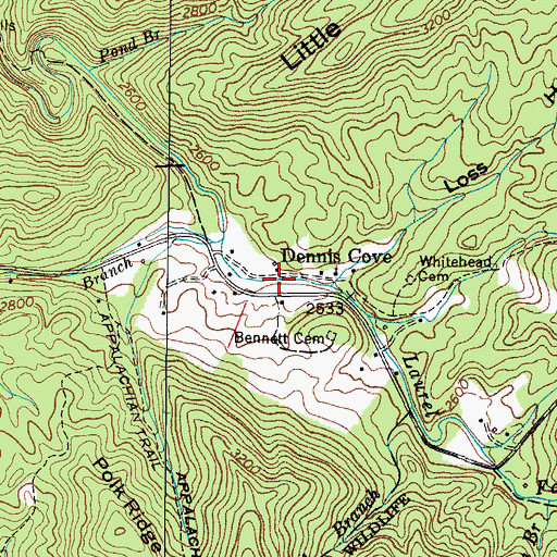 Topographic Map of Dennis Cove, TN