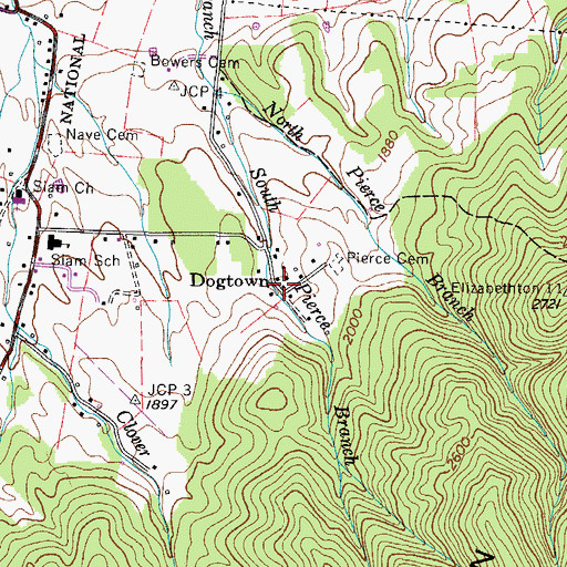 Topographic Map of Dogtown, TN