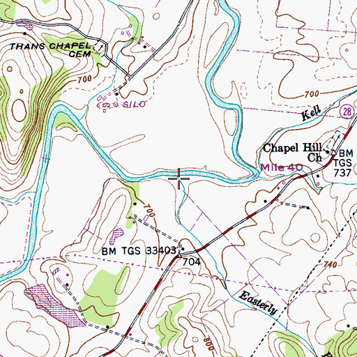 Topographic Map of Easterly Branch, TN