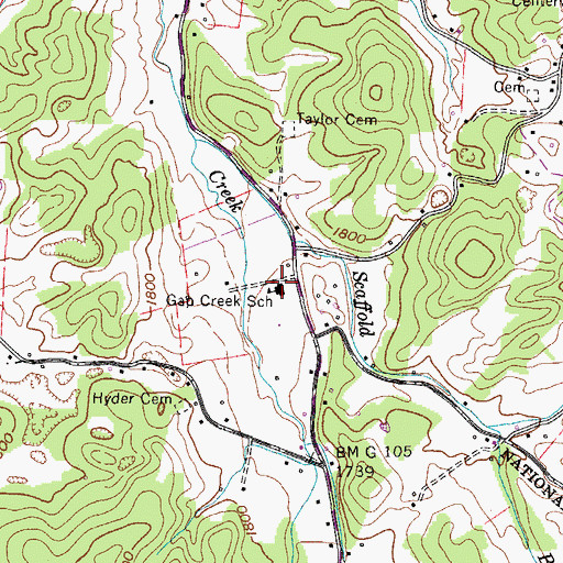 Topographic Map of Gap Creek School, TN