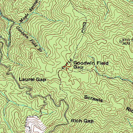 Topographic Map of Goodwin Field Gap, TN