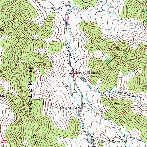 Topographic Map of Grays Chapel, TN