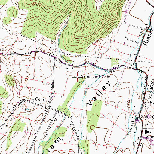 Topographic Map of Grindstaff Cemetery, TN