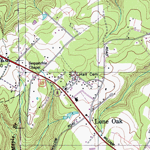 Topographic Map of Hall Cemetery, TN