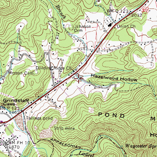 Topographic Map of Hazelwood Hollow, TN