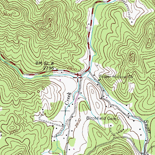 Topographic Map of Heaton Creek, TN