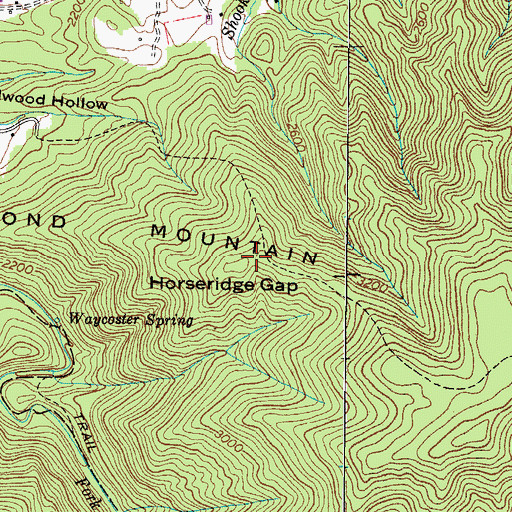 Topographic Map of Horseridge Gap, TN