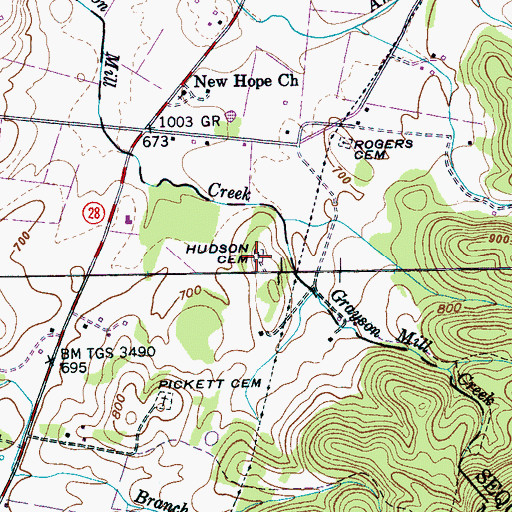 Topographic Map of Hudson Cemetery, TN