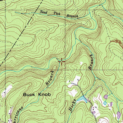 Topographic Map of Hurricane Branch, TN