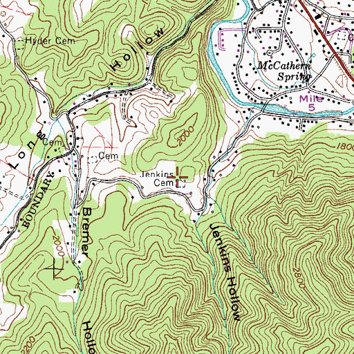 Topographic Map of Jenkins Cemetery, TN
