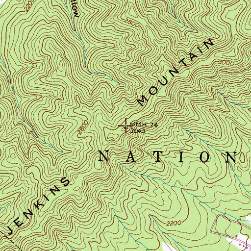 Topographic Map of Jenkins Mountain, TN