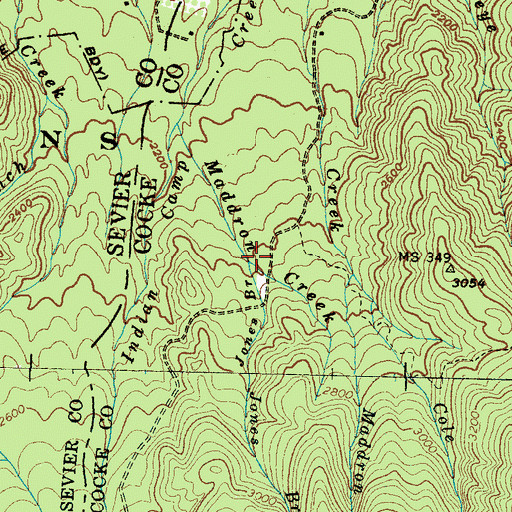 Topographic Map of Jones Branch, TN