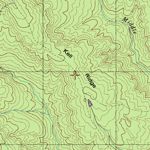 Topographic Map of Kell Ridge, TN