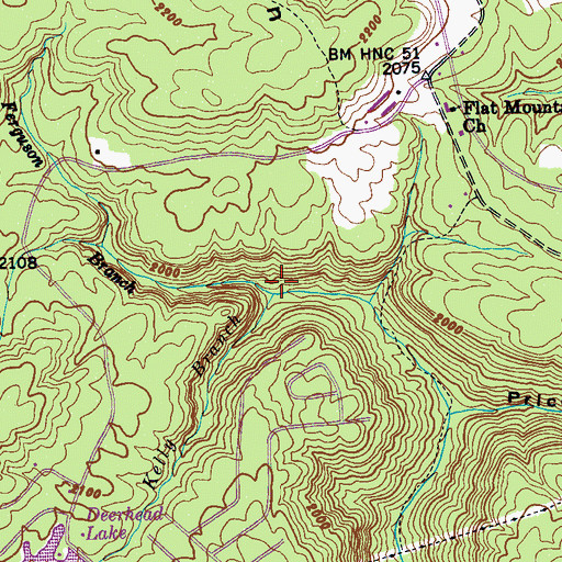 Topographic Map of Kelly Branch, TN