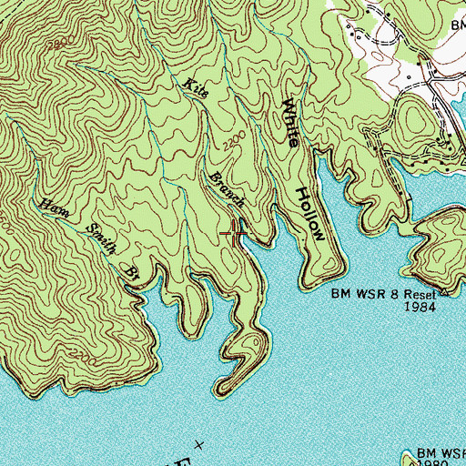 Topographic Map of Kite Branch, TN