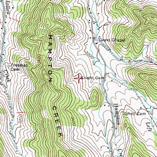 Topographic Map of Knight Cemetery, TN