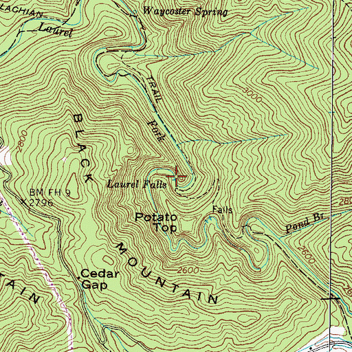 Topographic Map of Laurel Falls, TN