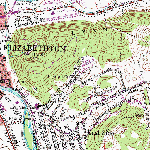 Topographic Map of Ledford Cemetery, TN