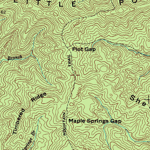 Topographic Map of Little Pond Mountain Trail, TN