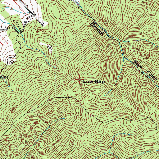 Topographic Map of Low Gap, TN