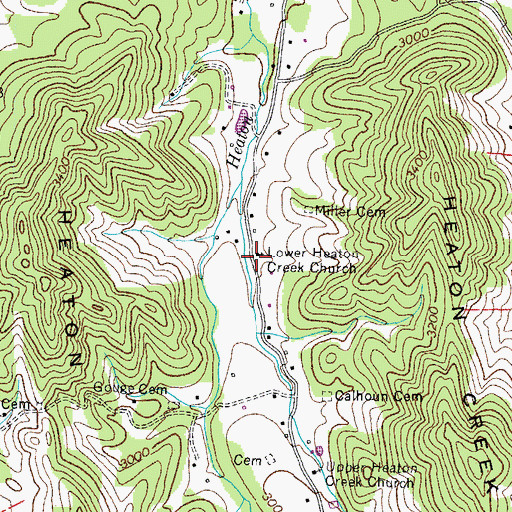 Topographic Map of Lower Heaton Creek Church, TN