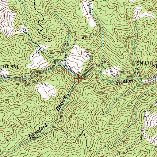 Topographic Map of Lunsford Branch, TN