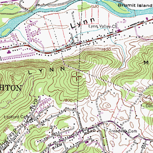 Topographic Map of Lynn Mountain, TN