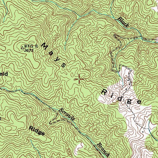 Topographic Map of Mays Ridge, TN