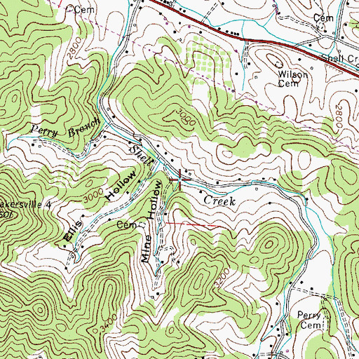 Topographic Map of Mine Hollow, TN