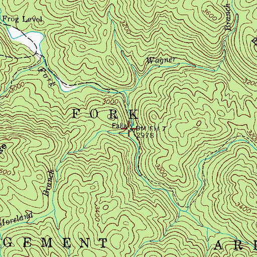 Topographic Map of Moreland Branch, TN