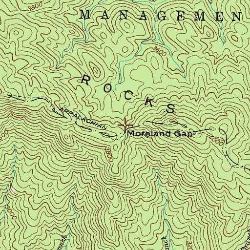 Topographic Map of Moreland Gap, TN