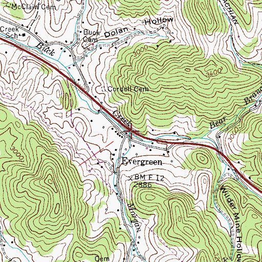 Topographic Map of Morgan Branch, TN