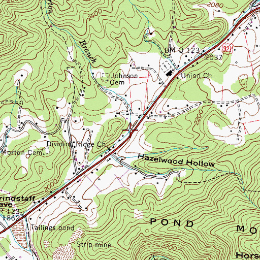 Topographic Map of Morton Branch, TN