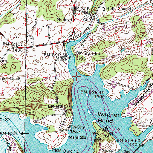 Topographic Map of Muddy Creek, TN