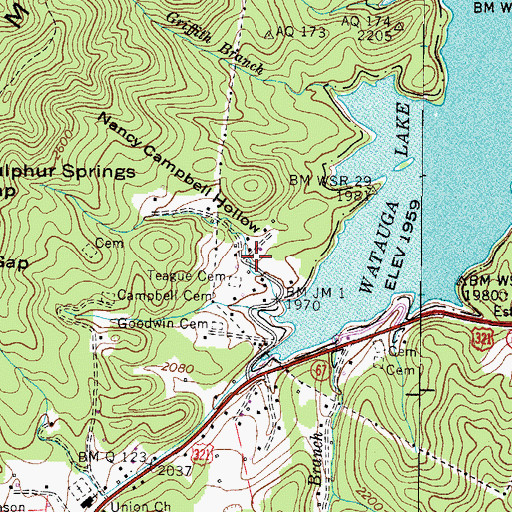 Topographic Map of Nancy Campbell Hollow, TN