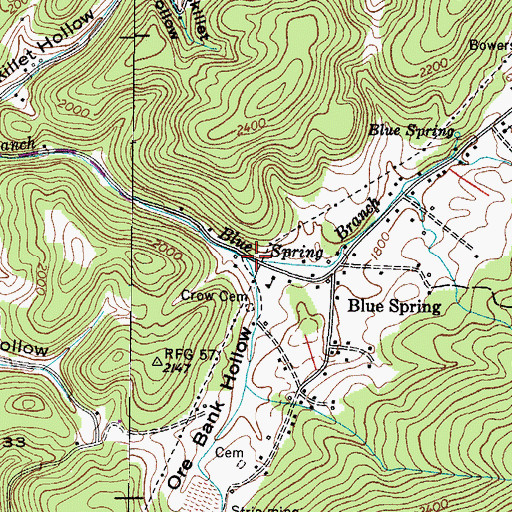 Topographic Map of Ore Bank Hollow, TN