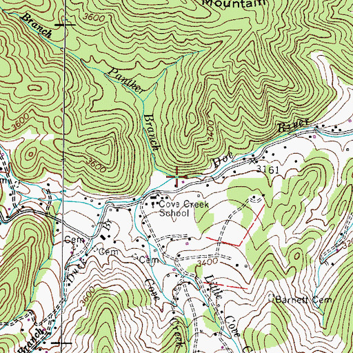 Topographic Map of Panther Branch, TN