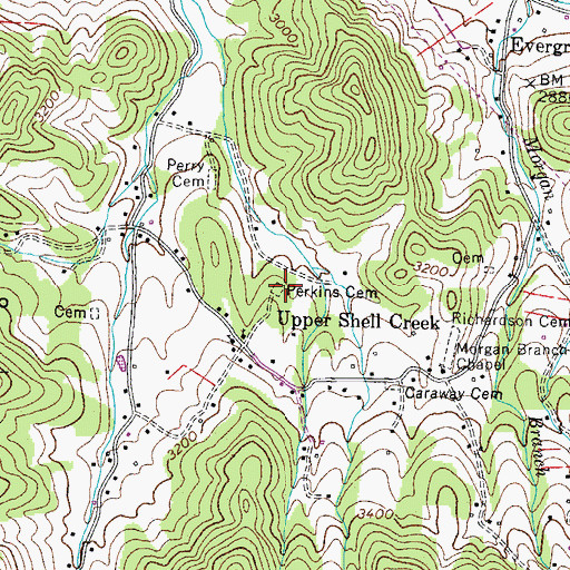 Topographic Map of Perkins Cemetery, TN