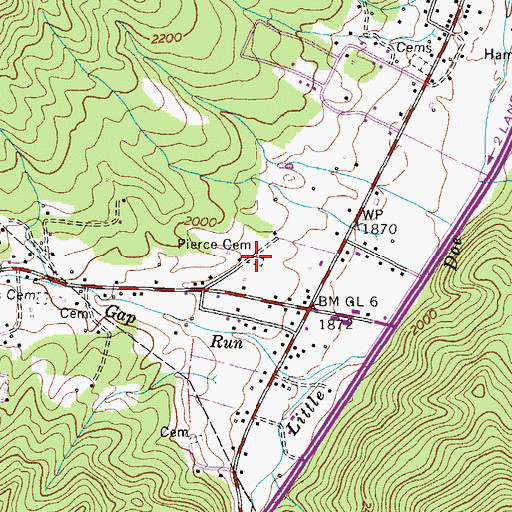Topographic Map of Pierce Cemetery, TN